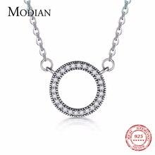 Colgante de corazón de plata de ley 925 de Modian, collar circular de circonita cúbica transparente de marca clásica a la moda para mujer, joyería de lujo