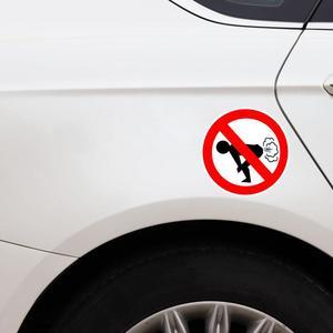 Image 2 - Su geçirmez Hiçbir Osuruk Araba Sticker Komik Eşek PVC Araba çıkartma Uyarı Işareti 12*12cm