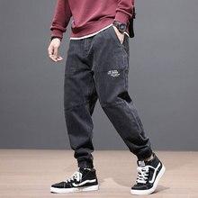 Japanese Style Fashion Men Jeans Big Pocket Spliced Designer Cargo Pants Slack Bottom Denim Harem Trousers Hip Hop Jeans Men