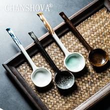 CHANSHOVA Chinese retro style Bump texture Ceramic spoon China porcelain Coffee soup spoon Tableware Kitchen utensils H306