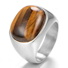Stainless Steel Steampunk Vintage Men Ring Jewelry Finger-ring Tiger-eye Gold Silver Colour Luxury Rings For Man Ringen Boho 925 silver jewelry diamond rings rose gold costume jewelry topaz vintage luxury ladies zircon ringen black ring tungsten b1001