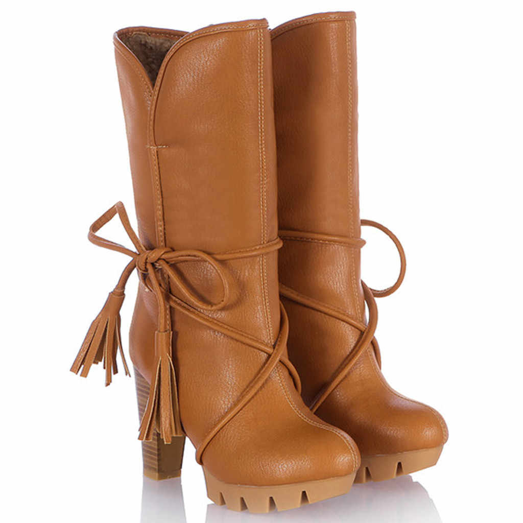 Lace-up Boots Women Vintage High Heel Bow Warm Plush Heels Winter Ladies Shoes Western Cowboy Motorcycle Boots bota feminina