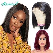 Perruque Bob Lace Front wig Remy brésilienne naturelle – Asteria, cheveux courts lisses, 13x4, pre-plucked, pour femmes africaines