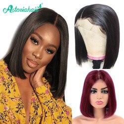 Pelucas brasileñas rectas de 13x4 Bob corto, pelucas de cabello humano con encaje frontal, pelucas naturales prearrancadas para mujeres negras, pelo Remy Asteria