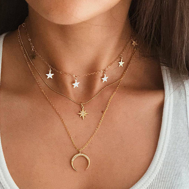 Crystal Heart Necklace Pendant Short Gold