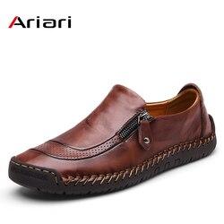 Ariari clássico confortável sapatos casuais de couro dos homens mocassins sapatos de couro sapatos masculinos apartamentos venda quente mocassins sapatos mais tamanho