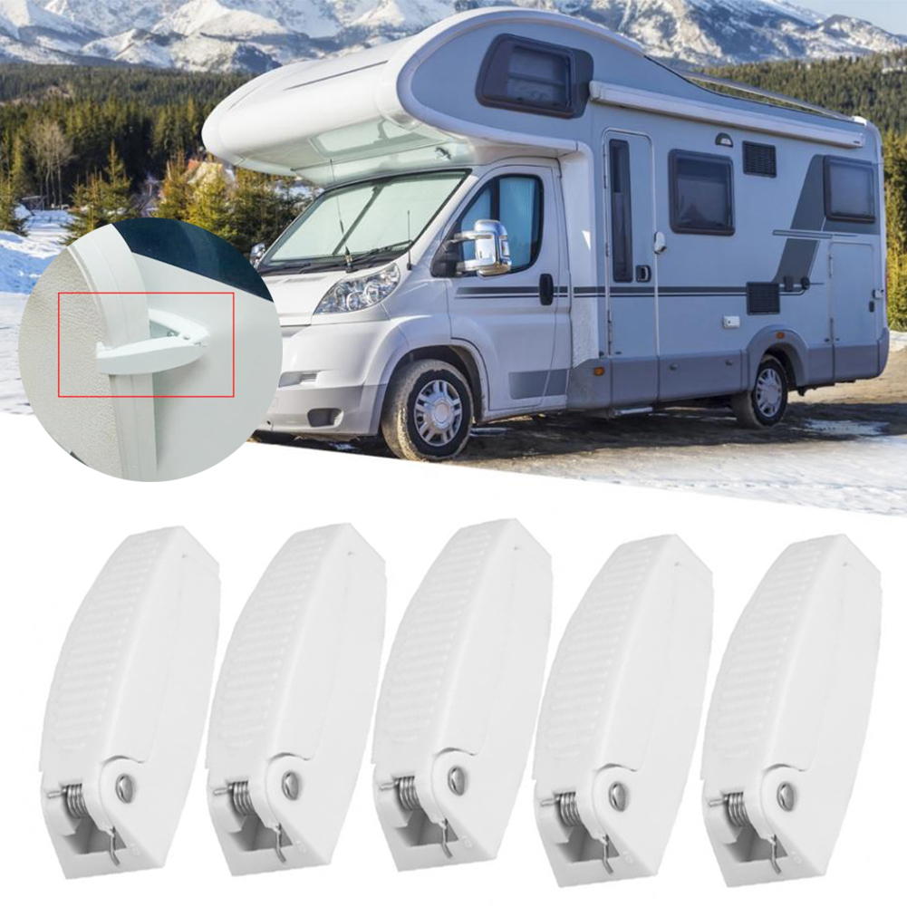 5pcs Door Catch Holder Latch for RV Motorhome Camper Trailer Travel Baggage Car Accessories White ABS Auto Styling|RV Parts & Accessories| |  - title=