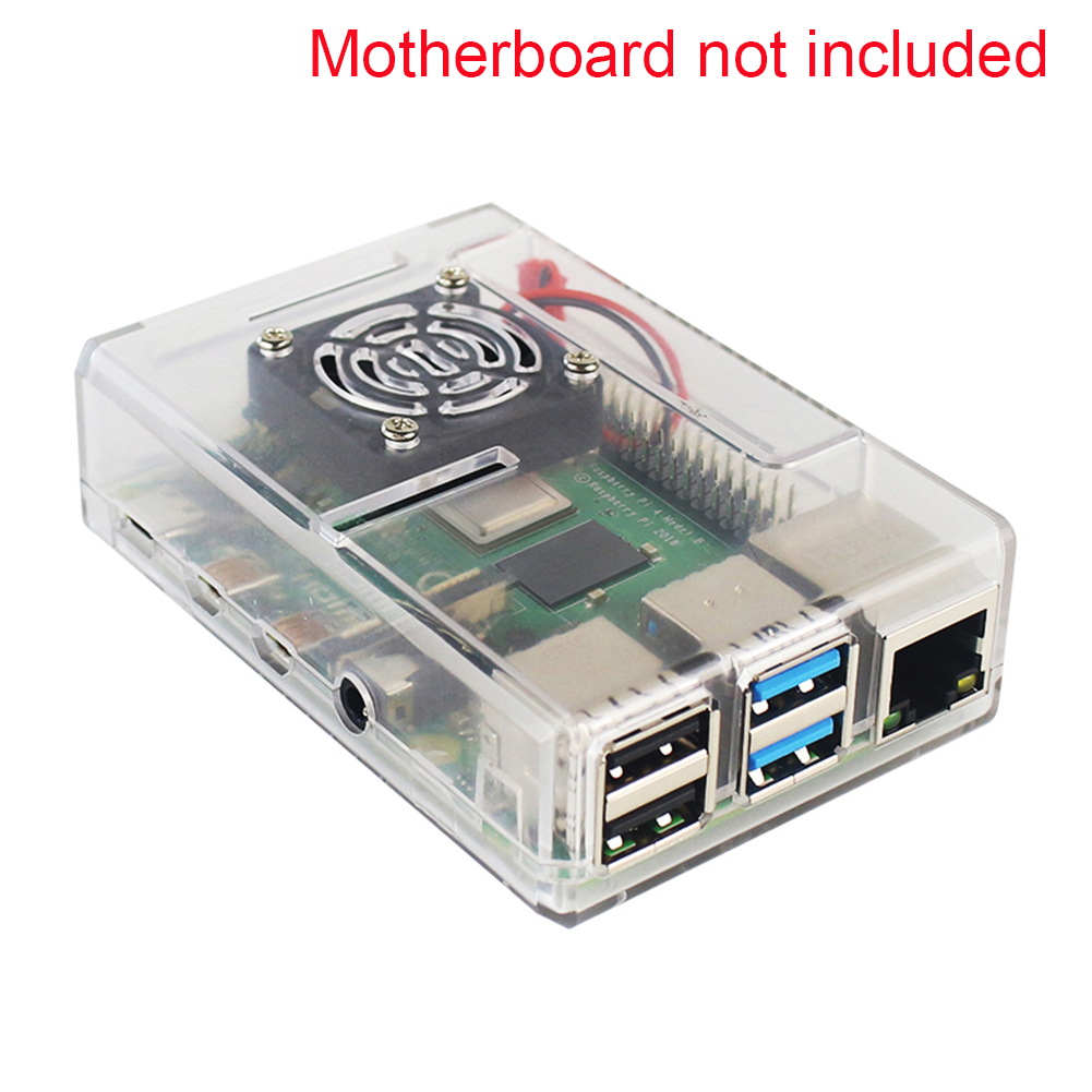 Accessories Parts Demo Board Protective ABS Case Housing With Cooling Fan Durable Ports Compact Cover For Raspberry Pi 4