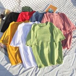 8 camiseta de Algodão Cor sólida Mulheres S-4XL Harajuku T-shirt Femme O-pescoço Top Verão Coreano das Mulheres Brancas Camiseta Básica dropshipping