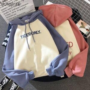 Image 1 - Hoodies Women Lazy Plus Velvet Thicken Letter Printed Womens Pullover Full Sleeve Hooded School Students Ladies Sweatshirts