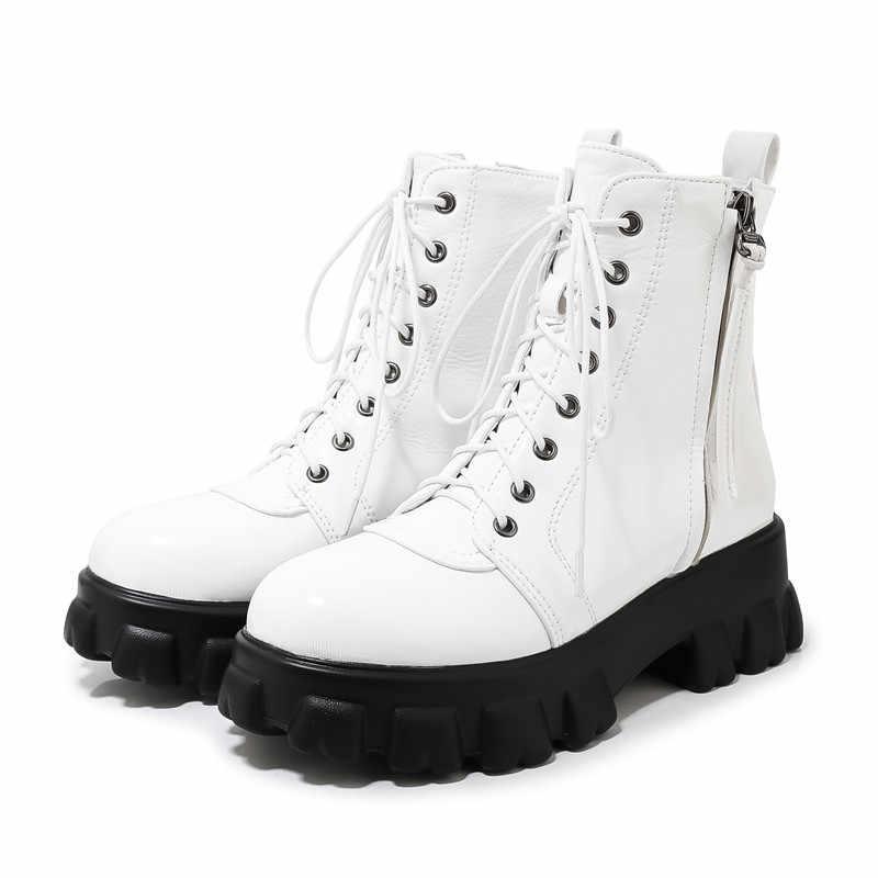 FEDONAS çapraz bağlı kadın Pu deri yarım çizmeler tıknaz topuklu artı boyutu parti dans ayakkabıları kadın kış moda kısa çizmeler
