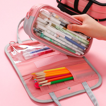 Pencil Case Portable Large-capacity Solid Color Pen Box Cosmetic Bag School Supplies Student Girls Stationery Make up Bag Gifts haoyun 12 constellations prints pattern make up bag women cosmetic bag student pencil case children kid school stationery box