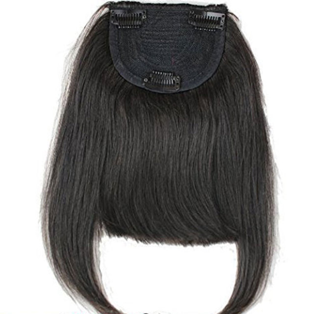 Brazilian Human Hair Clip in Hair Blunt Bangs Full Fringe Short Straight Hair Extension for women 100% Virgin Hair 6-8inch