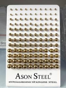 Image 5 - ASONSTEEL 60 คู่/ล็อตขายส่งผ่าตัดBallต่างหูทอง/สีดำ/Rose Gold/เงินขนาด 3 มม. 8 มม.ต่างหูหญิง