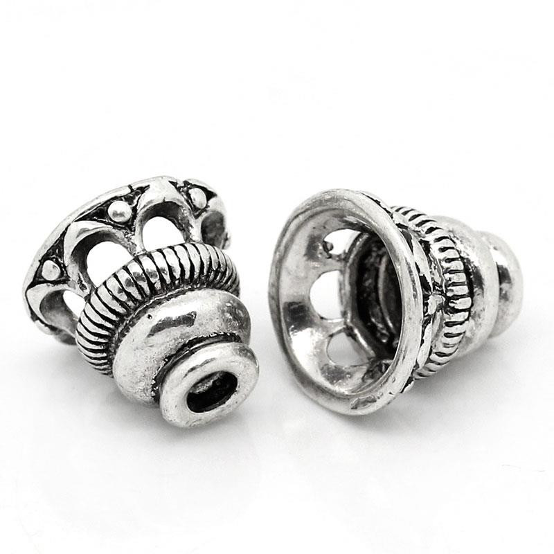 DoreenBeads Copper Beads Caps Bell Antique Silver Color Hollow DIY Jewelry (Fits 18mm Beads) 10mm( 3/8