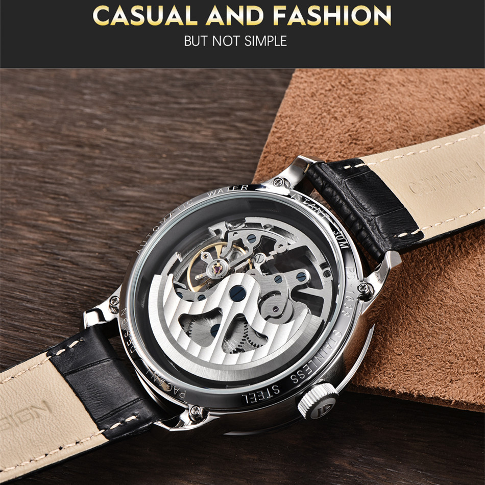 Image 5 - 2020 PAGANI DESIGN Brand Fashion Leather Gold Watch Men Automatic