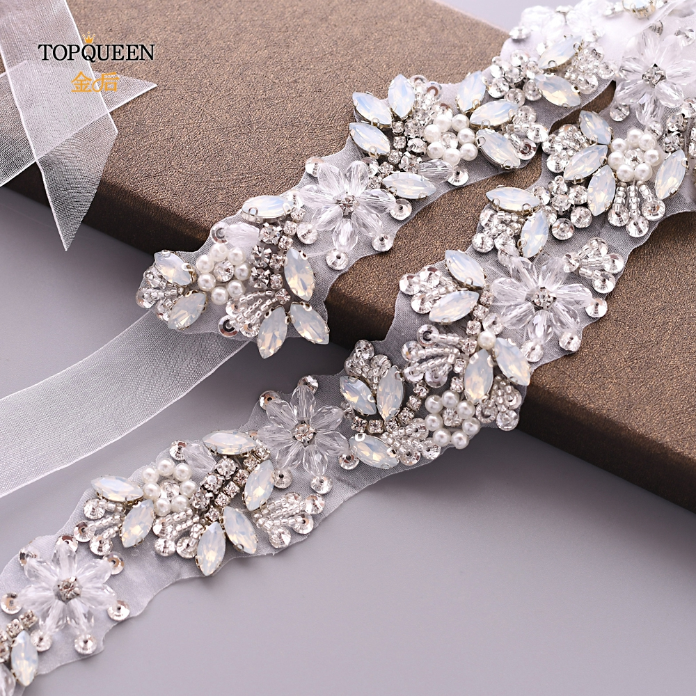TOPQUEEN S434 Bridal Belts Wedding Dress Sash Rinestone Belt Organza Belt Rhinestone Belt Wedding Glitter Silver Belt Jewel Belt