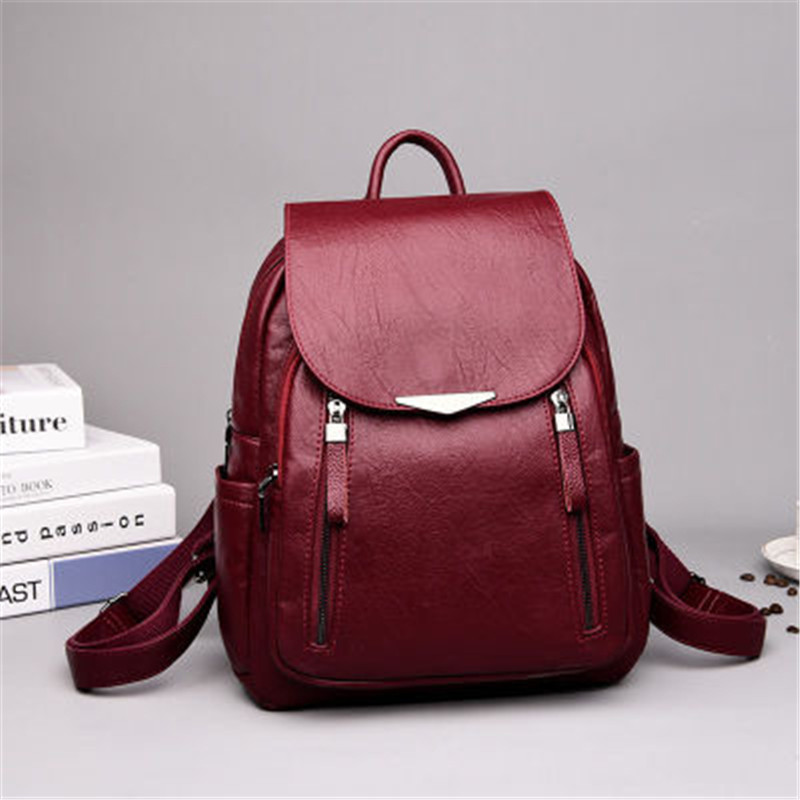 Femmes sac à dos PU femme sacs à dos Vintage en cuir sacs d'école grande capacité sac d'école pour filles Double fermeture éclair sacs à bandoulière - 3