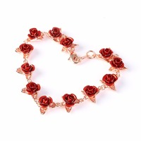 2019 New Roses Bracelet Red Rose Flowers Gold Color Wrist Chain Valentine's Day Gift For Women Fashion Jewelry Bracelets