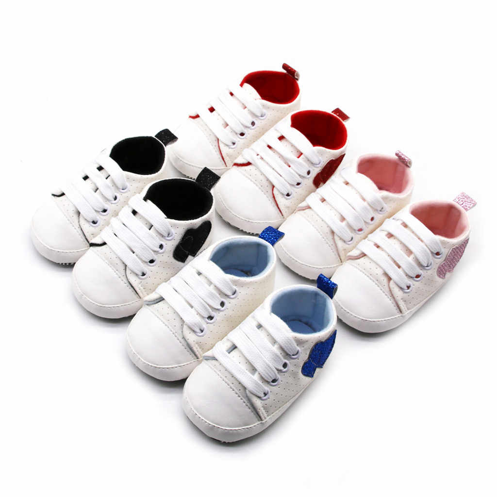Infant Baby Girls Boy Canvas Shoes Bandage Love Prewalker First Walkers Anti-slip Soft Sole Newborn Casual Sports Shoes Sneakers