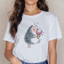 Popular женская Hedgehog eating ice cream Tshirt Kawaii Round Neck Spring Summer Tee shirt Lovely Cartoon Patterns T-shirts cheap Showtly Polyester spandex COTTON Tops Tees Short REGULAR Broadcloth lady WOMEN NONE Streetwear Ages 18-35 Years Old O-Neck