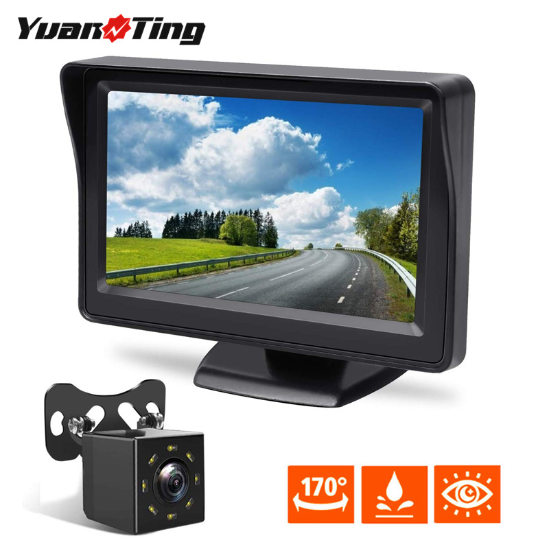 YuanTing Wire 4.3 inch Screen with Auto 8 LED Lights Backup Rear View Camera Waterproof Night Vision Reversing System for Cars|Vehicle Camera| - AliExpress