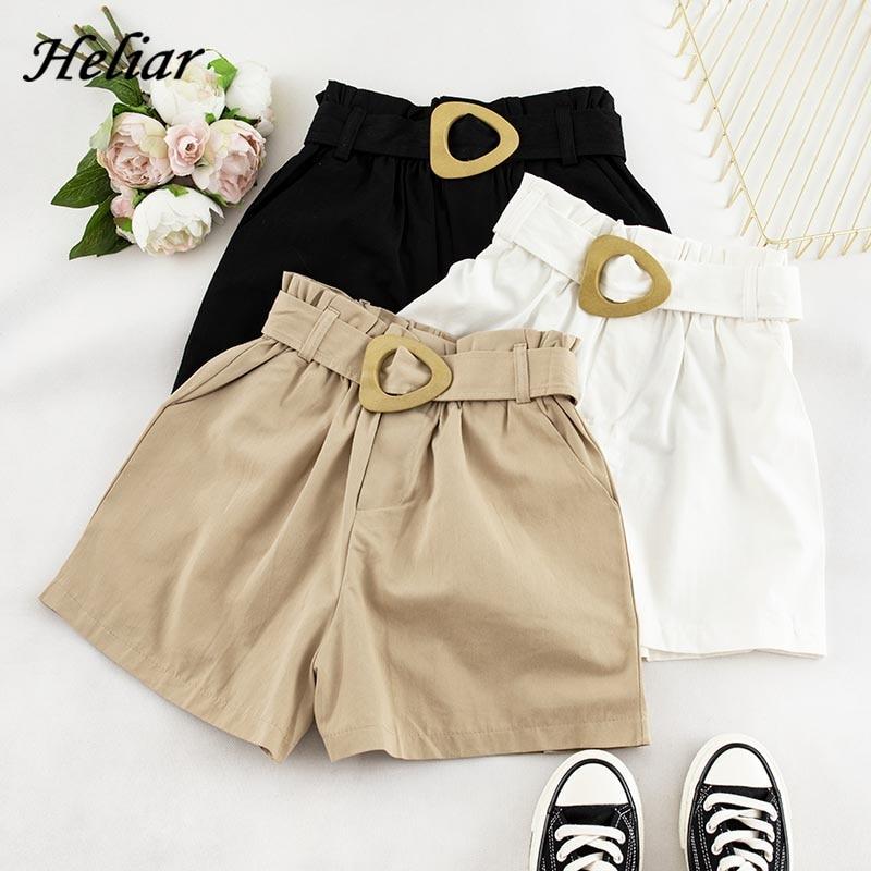HELIAR 2019 Women Fashion Cargo Shorts Female Shorts Femenino Casual Chic Sashes Short Waistband Outwear Solid White Shorts