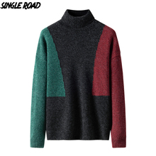 Single Road Men's Turtleneck Sweater Men 2019 Winter Clothes Knitted Pullover Jumper For Men Cashmere Sweaters Male High Quality male jumper puma 75231801 sports and entertainment for men sport clothes tmallfs