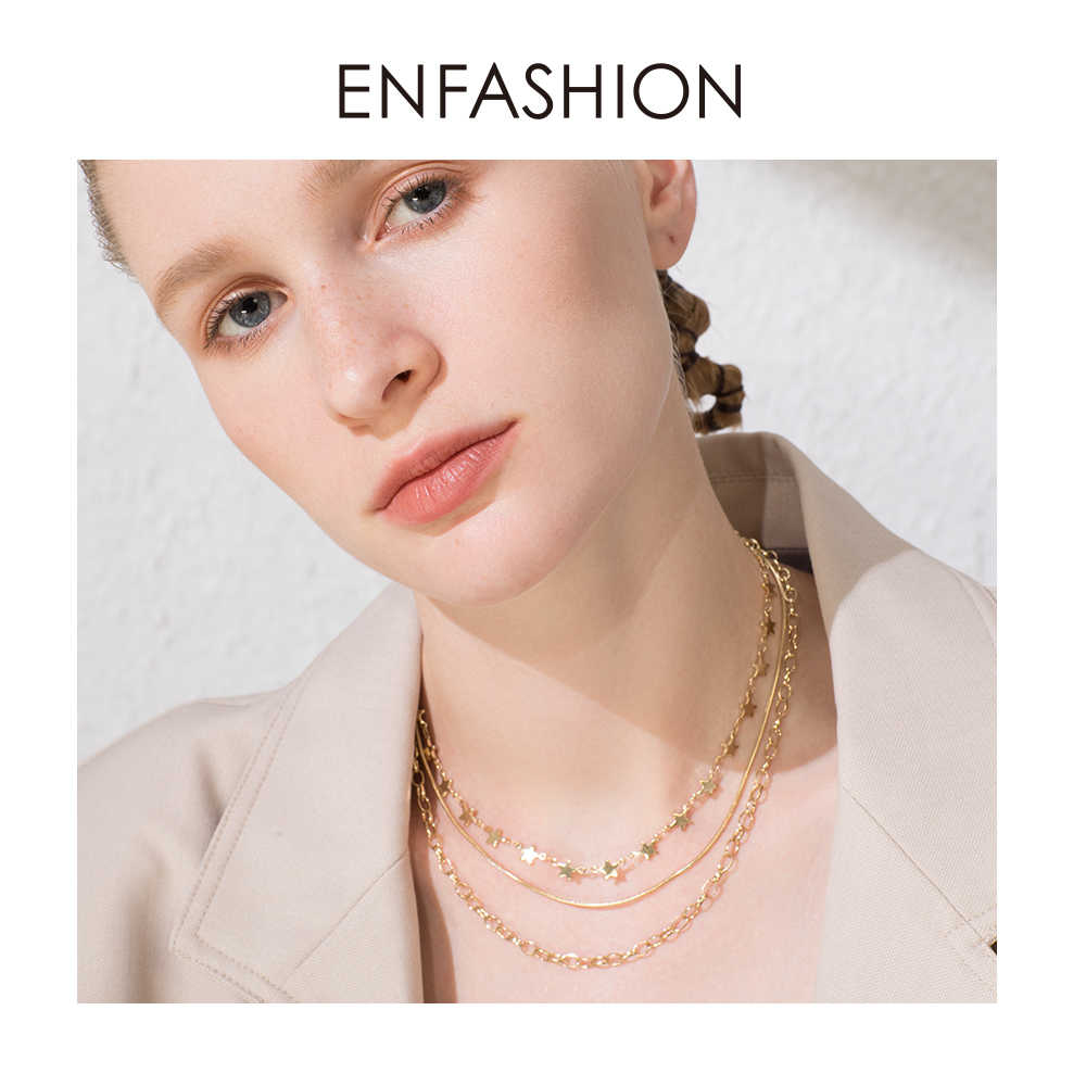 ENFASHION Boho Multi-layer Star Chain Choker Necklace Women Gold Color Stainless Steel Necklaces Fashion Jewelry Ketting P193035