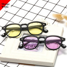 Moda Johnny Depp Style okrągłe okulary jasne przyciemniane soczewki marka projekt Party Show okulary óculos De Sol UV400 tanie tanio ShangeWFJia ROUND Dla osób dorosłych Z tworzywa sztucznego 46mm Z poliwęglanu 3019 38mm women