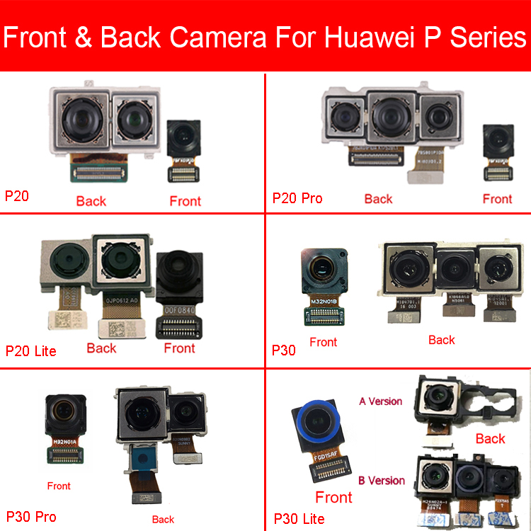 Front & Rear Back Camera For Huawei P20 P30 Pro Lite Front Facing Small & Main Big Camera Flex Cable Replacement Repair Parts