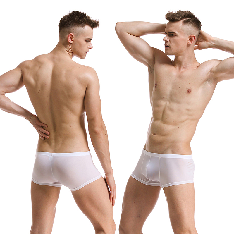 <font><b>Sexy</b></font> Mens Underwear Ice Silk <font><b>Boxer</b></font> Shorts Transparent Ultra Thin Low Rise Panties Man See Through Underpants <font><b>Homme</b></font> Cuecas image