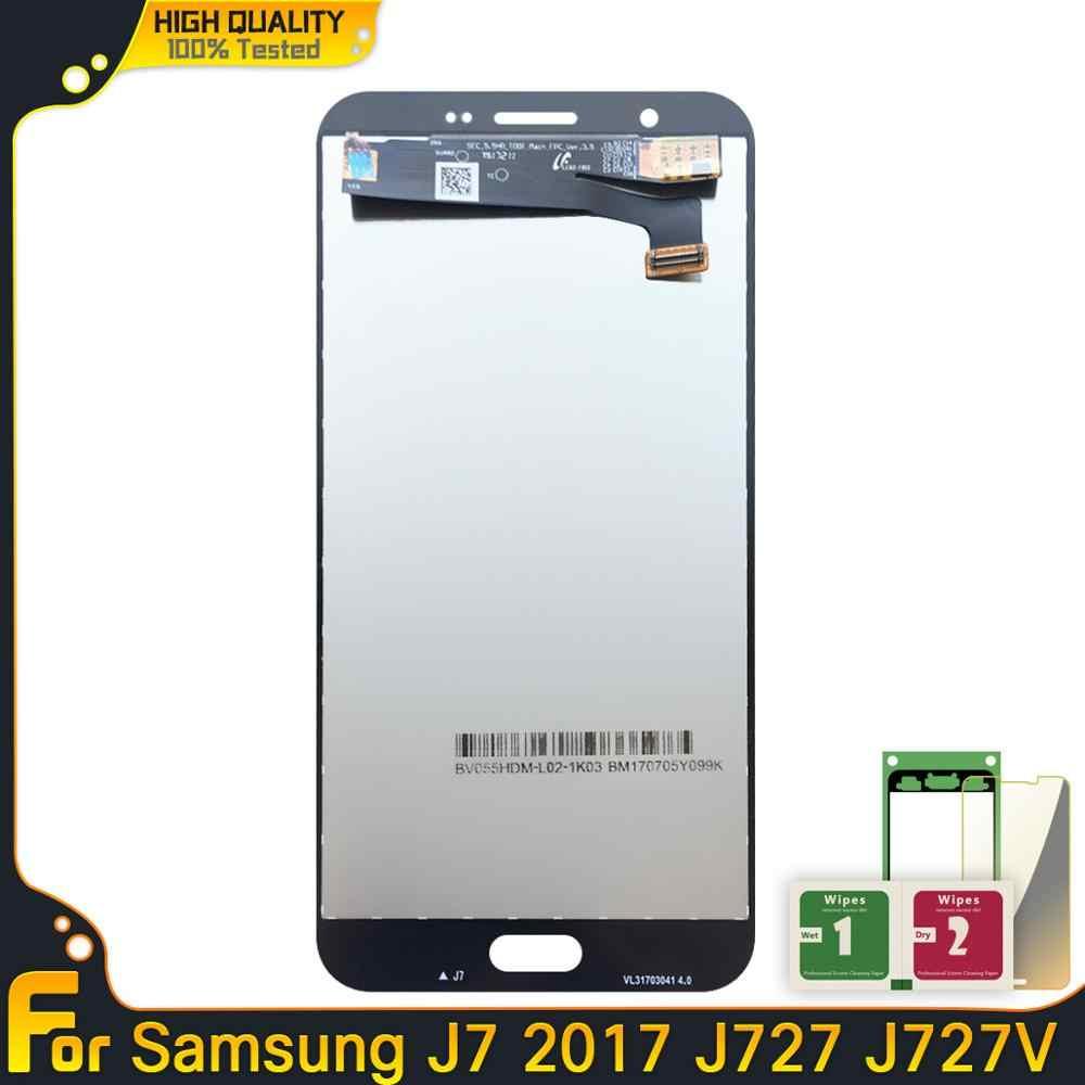 100% اختبار العمل AMOLED شاشات LCD لسامسونج غالاكسي J7 J727 2017 SM-J727P J727V J727A شاشة LCD عرض مجموعة رقمنة اللمس