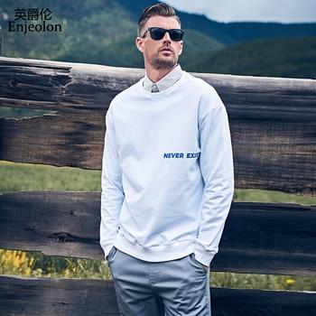 Enjeolon Brand Autumn Winter Hoodies Men O-neck Casaul Slim Fit Print Sweatshirt Male Tops Streetwear Plus Size 3XL WY149