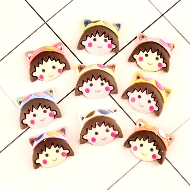 10 Pcs/lot Creative DIY Resin Patch Cute Anime Chibi Maruko Figurine Crafts Toy Hair Storage Box Accessories Kids Craft Toy