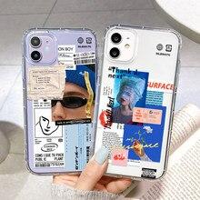 Caso de etiqueta de moda para iphone x xr xs 11 12 pro max 6s 7 8 plus caso capa traseira silicone macio funda iphone12 mini se 2020 11pro