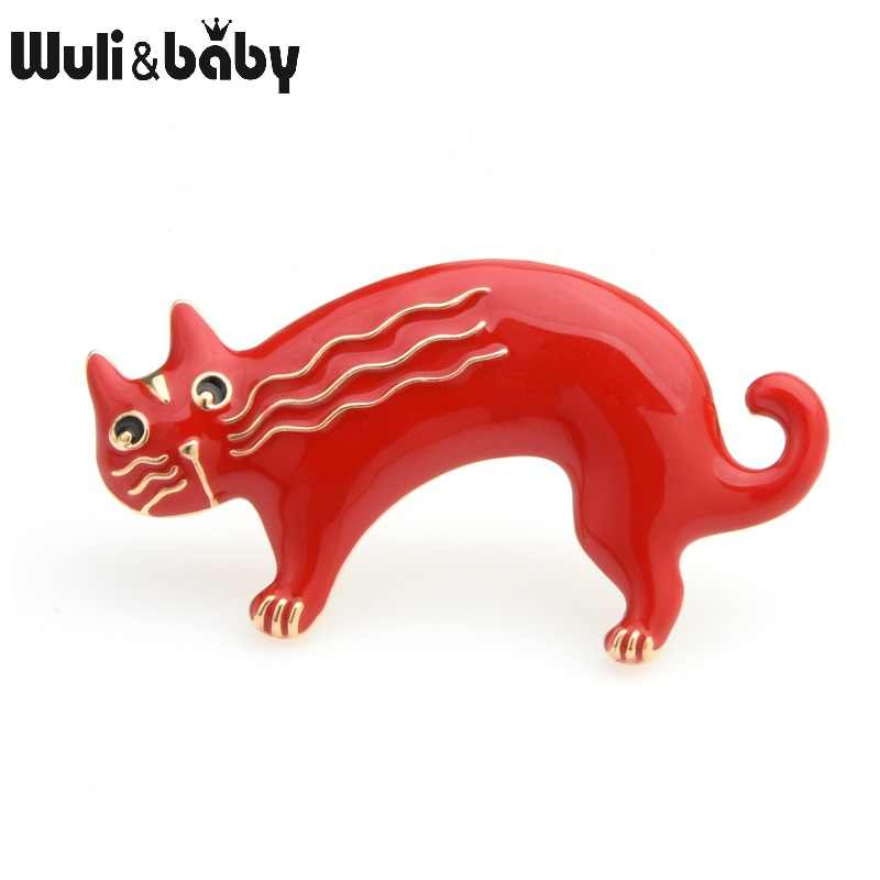 Wuli & Baby Red Black Cat Broches Vrouwen Lichtmetalen Leuke Animal Casual Party Broche Pins Nieuwe Jaar Geschenken