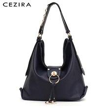 CEZIRA ผู้หญิงหรูหราทุกวัน Hobo สุภาพสตรี PU หนังกระเป๋าสะพายขนาดใหญ่กระเป๋าถือแฟชั่นแหวนโลหะ Tote หญิง Crossbody กระเป๋า Sac