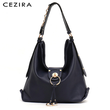 CEZIRA Luxury Women Daily Hobo Ladies PU Leather Large Shoulder HandBag Fashion Metal Rings Tote Female Casual Crossbody Bag Sac