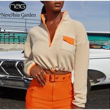 NewAsia Fleece Sweatshirt Hoodies Women 2019 Autumn Crop Tops Front Zip Turtleneck Winter Pullover Casua Streetwear Hoddies New zip up front crop tee