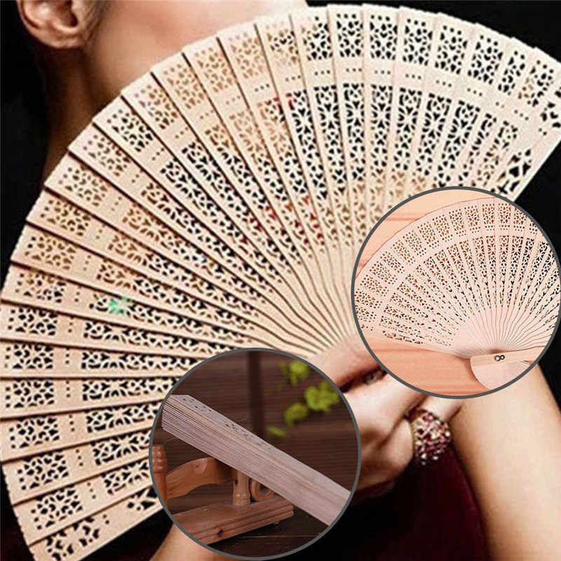 1PC Portable Hand Fans Folding Durable Hollow Out 20cm Bamboo Wooden Carved Scented Hand Fan Retro Chinese Japanese Fan