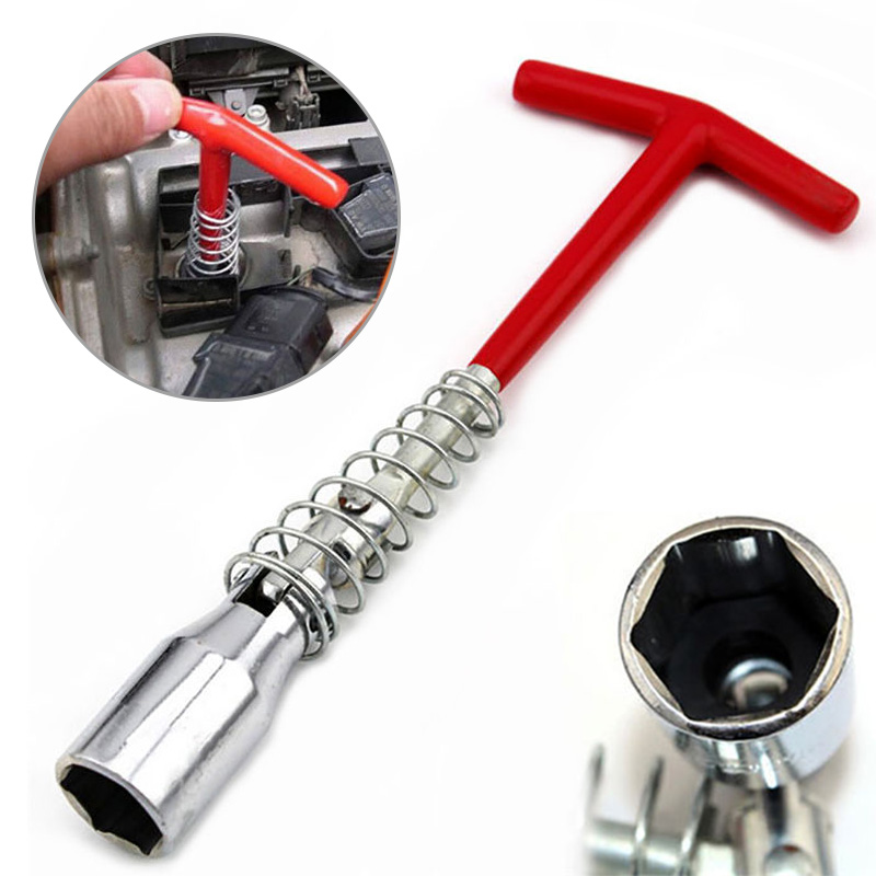 1Pcs Portable Spanner Socket Wrench Spark Plug 16mm Removal Tool T-Bar Car Removal Tool Chromeplated