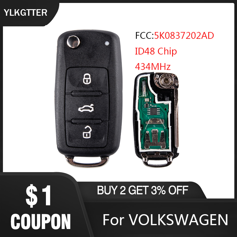 YLKGTTER 434MHz Remote Key Fit For VW/Volkswagen Caddy Eos Golf Beetle Polo Up Tiguan Touran With ID48 Chip 5K0837202AD