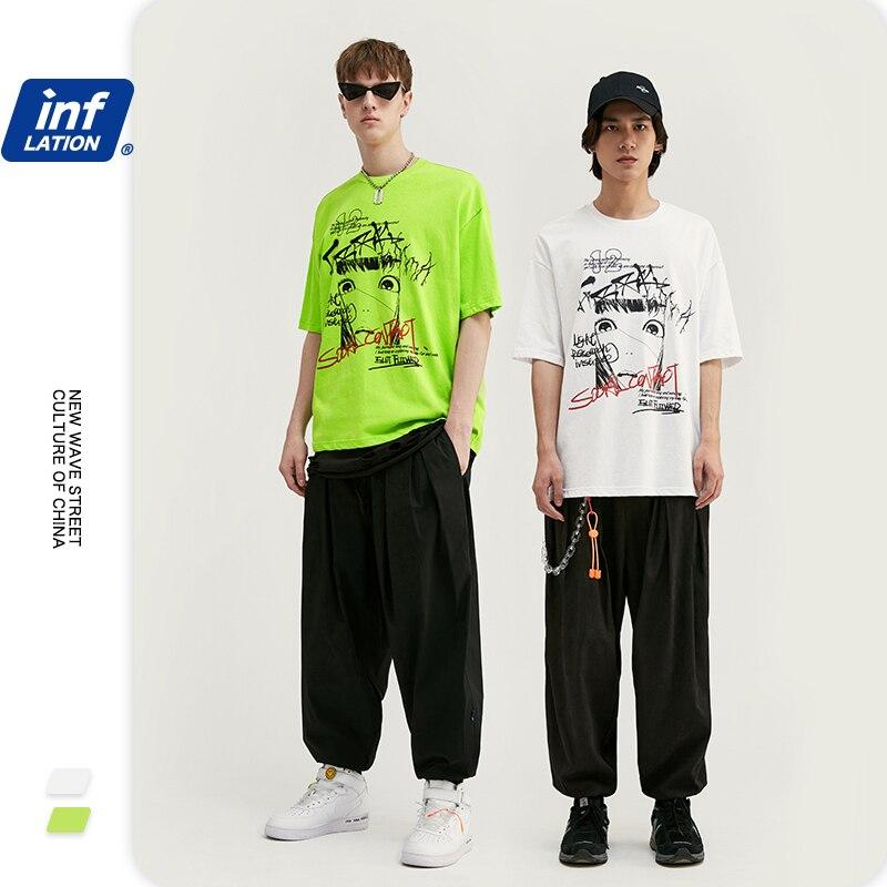 INFLATION Graffiti Printed Fashion Mens Streetwear T Shirts Men Hip-Hop T-shirt Cotton Short Sleeve Men Tshirt футболки 1038S20