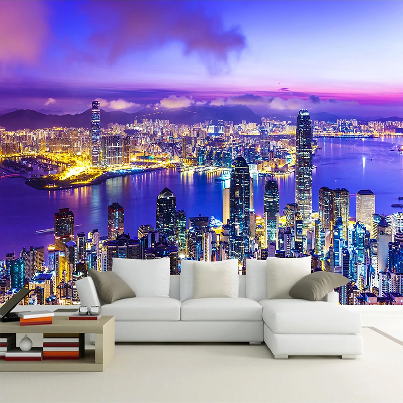 City Night View 3D Photo Picture Wallpaper Custom Wall Murals Modern Living Room Bedroom Background Wall Painting Art Wallpaper