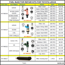 Fuel Injector Repair Kits Service Kits for toyota lexus 4.3 3.0 3.5 V6  GS430 E300 SC430 LS430 with 100pcs/bag free shipping