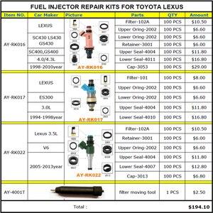 Image 1 - 연료 인젝터 수리 키트 서비스 키트 toyota lexus 4.3 3.0 3.5 V6 GS430 E300 SC430 LS430 100 개/가방 무료 배송
