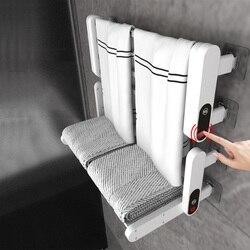 Upgrade 110V 220V Foldable Intelligent Bathroom Electric Timing Towel Dryer Warmer Wall Mounted Carbon Fiber Heating For Kitchen