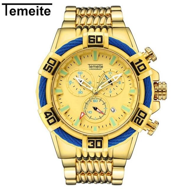 Temeite Mens Watches Luxury Golden Quartz Watch