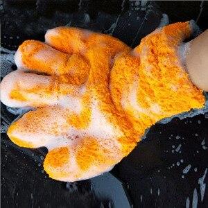 Image 1 - 1 pc超高級マイクロファイバー洗車手袋車のクリーニングツール家庭用多機能クリーニングブラシディテール